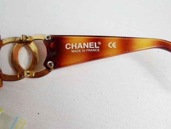 CHANEL vintage 80s brown amber plastic gold metal by mfarris70, $79.99