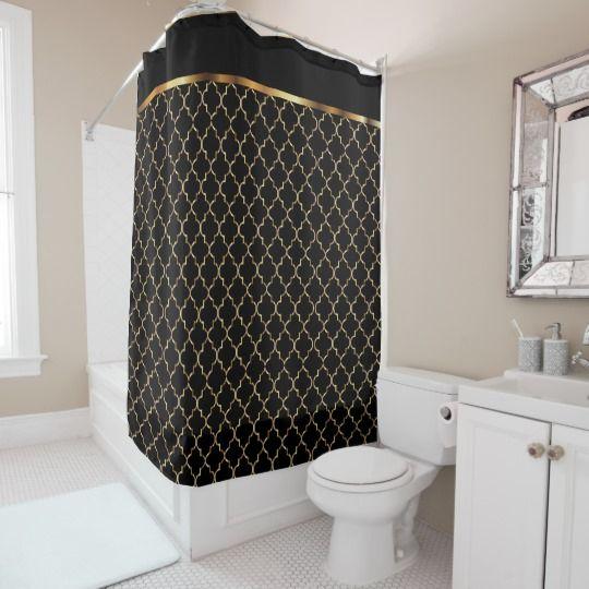Elegant Black And Gold Quatrefoil Patterns ShowerCurtain