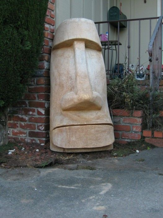Moai tiki carved from palm wood pinterest