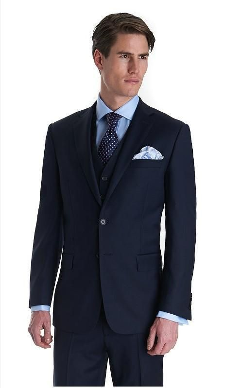 Custom Made Groom Tuxedos Dark Blue Best Man Groomsman Notch Lapel ...