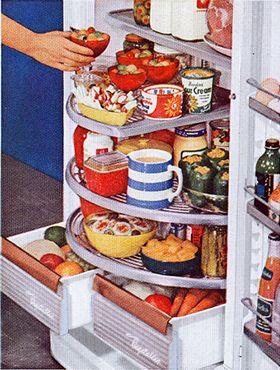 Terrific 1948 Ge Revolving Shelf Refrigerator For The Home Fridge Interior Design Ideas Apansoteloinfo