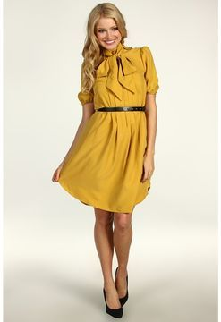 dbb0b1470e Jessica Simpson - Short Sleeve Tie Collar Shirt Dress w/ Pockets (Chinese  Yellow) - Apparel on shopstyle.com