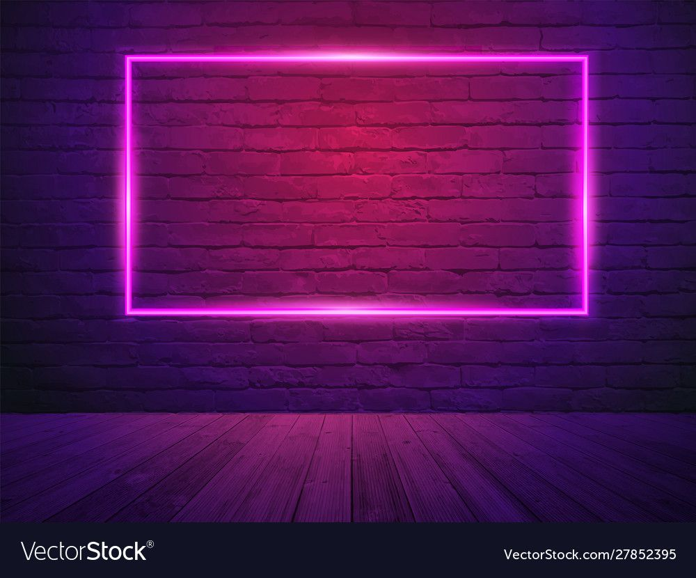 Brick wall room background neon light vector image on