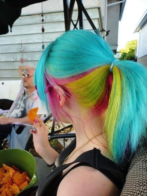 Blue,yellow,pink ponytail dyed hair