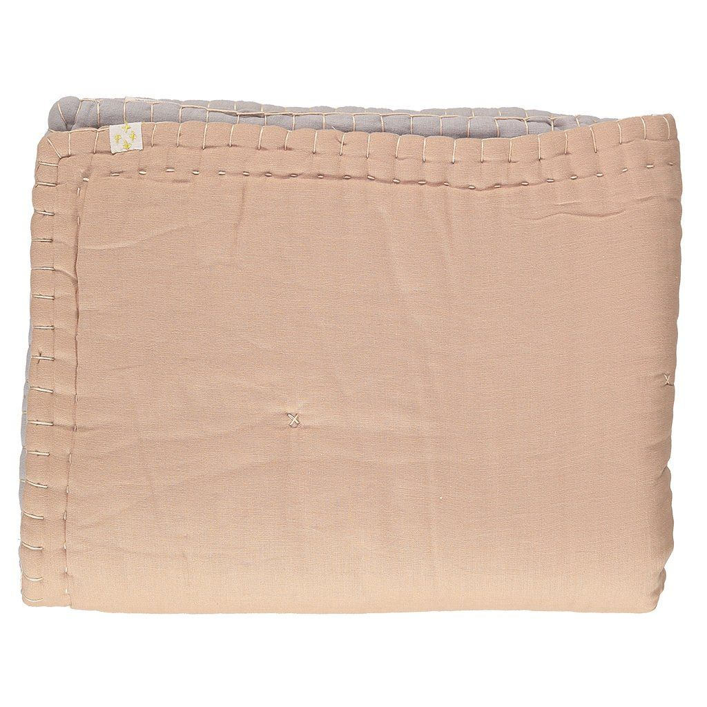 Peach and soft grey cotton quilt by camomile london | HOME ... : soft cotton quilt - Adamdwight.com