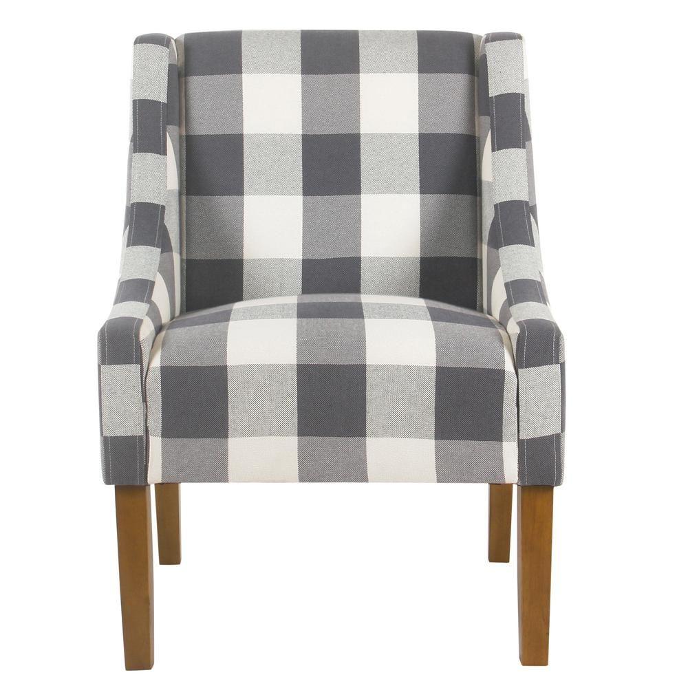 Best Homepop Blue Buffalo Plaid Modern Swoop Arm Accent Chair 400 x 300