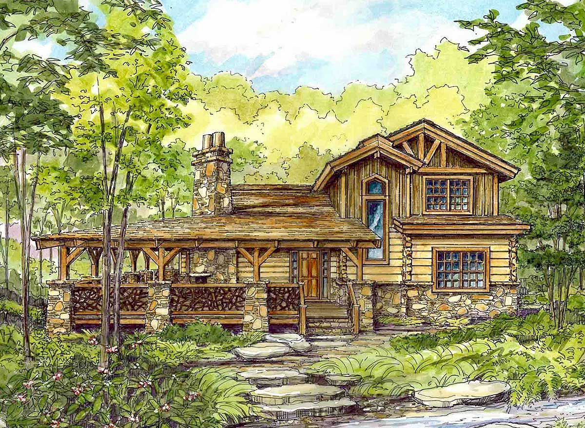 5 Celebrities Awesome Cabin In The Woods   Wrap around porch, House plans,  Cabin house plans