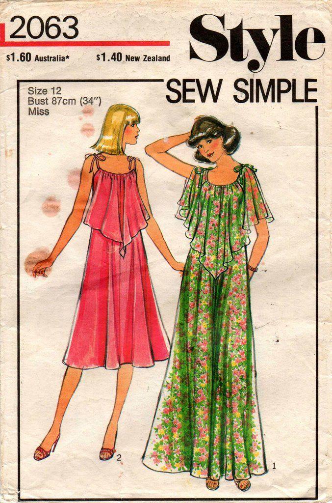 Style 2063 EASY Womens Handkerchief Dress Or Split Sleeve Maxi Dress ...