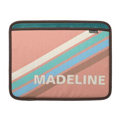 Custom Taupe Blue Turquoise Coral Blush Stripes MacBook Air Sleeve | Zazzle.com #turquoisecoralweddings