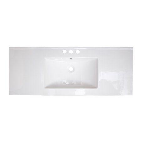 48-in. W X 18.5-in. D Ceramic Top In White Color For 3H4-in. Faucet