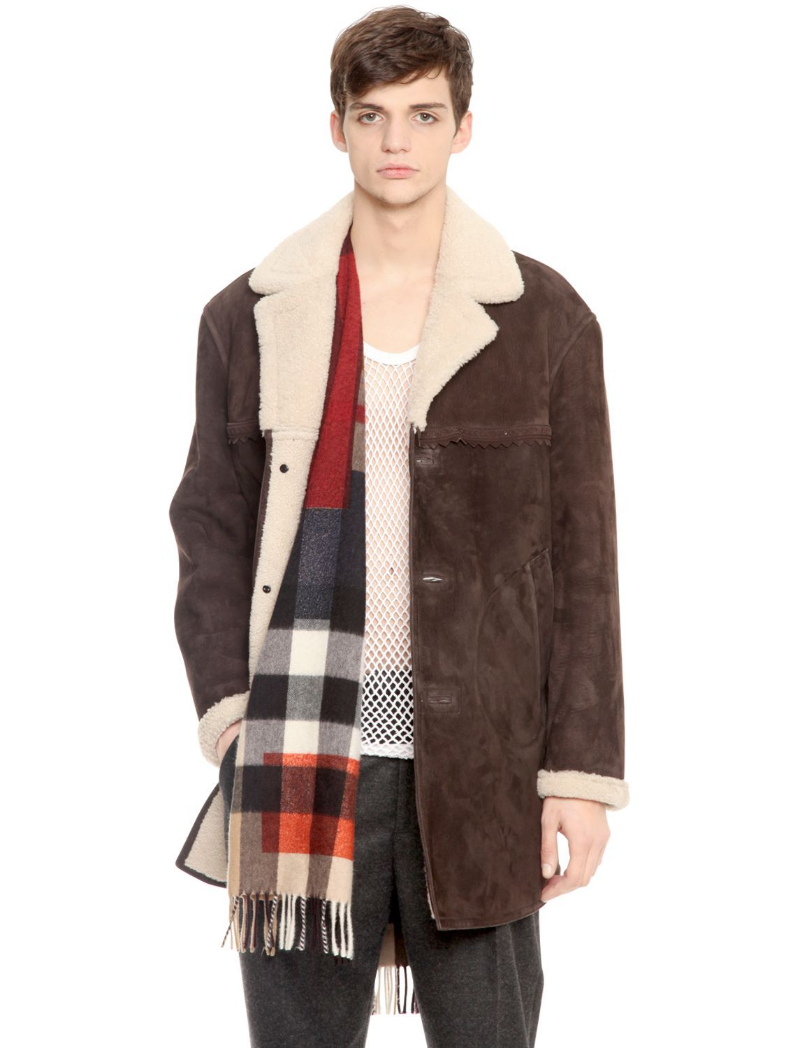 Burberry Prorsum Shearling Suede Coat Brown - Sheepskin | Men's ...