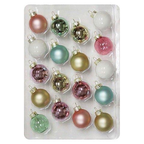 Christmas Glass Ornament Set 18 ct Pastels  Christmas pcc