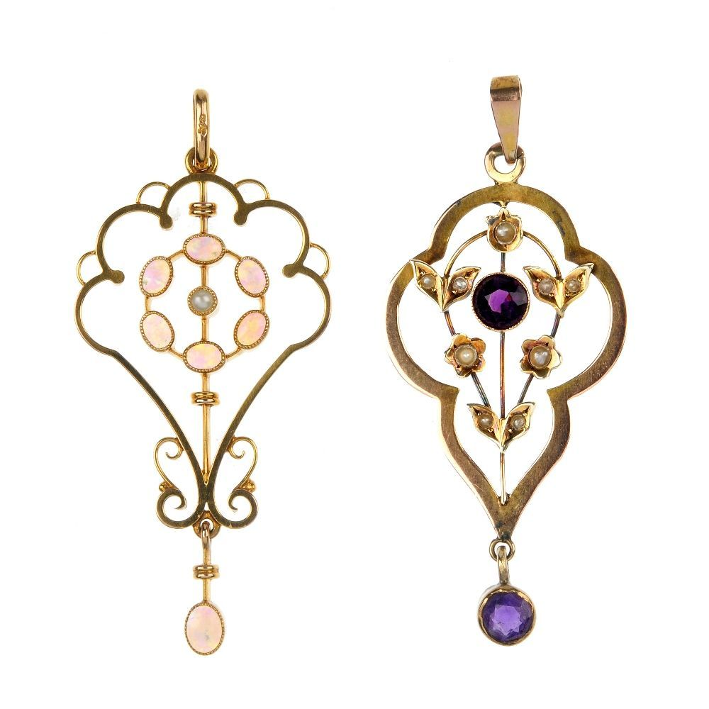 Two early to mid 20th century 9ct gold gem-set pendants.