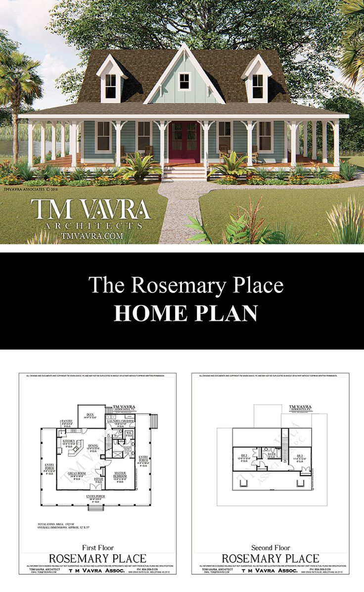 The Rosemary Place in 2020 Porch house plans, Farmhouse