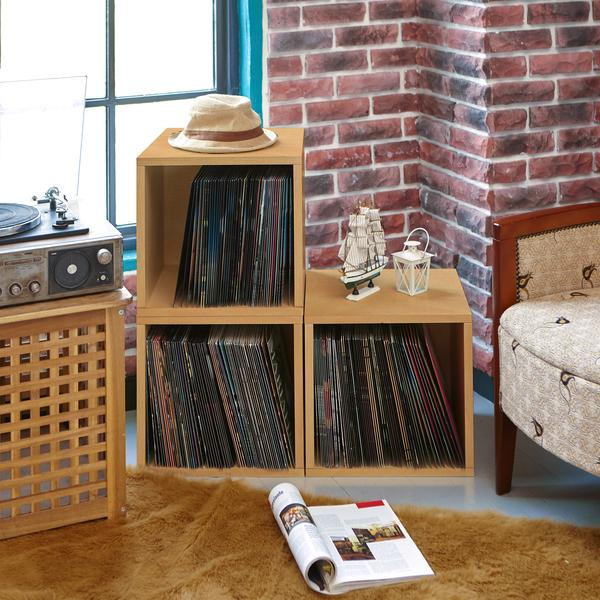 Blox Cube Natural Record Storage Cube Storage Vinyl Record Storage