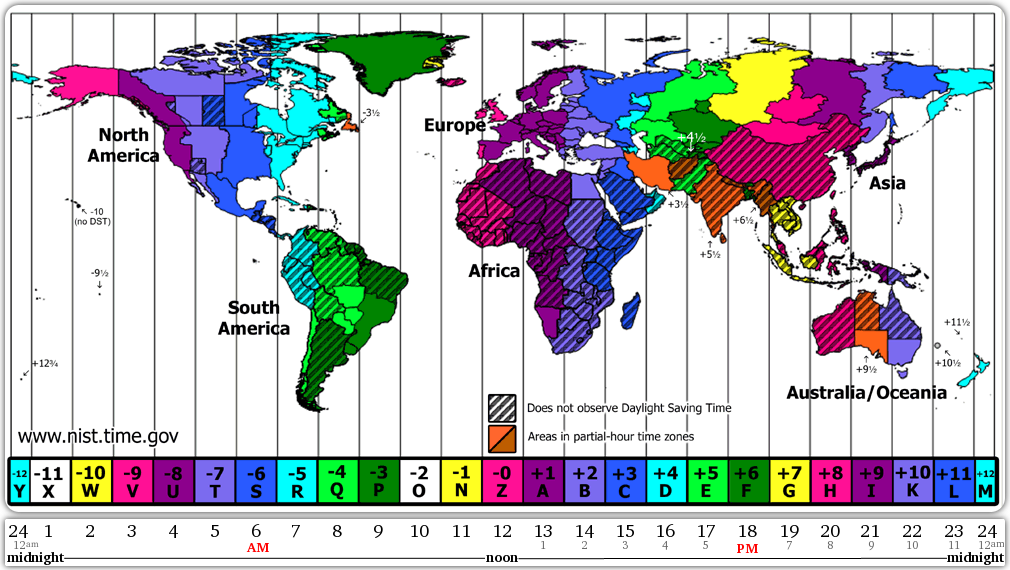 Worldwide Time Zone Map Keep On Hand For Future Travels Travel - Us map colored by time zone