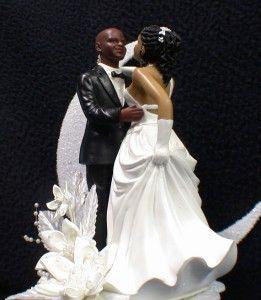 Black African American Groom Bride Wedding Cake Topper