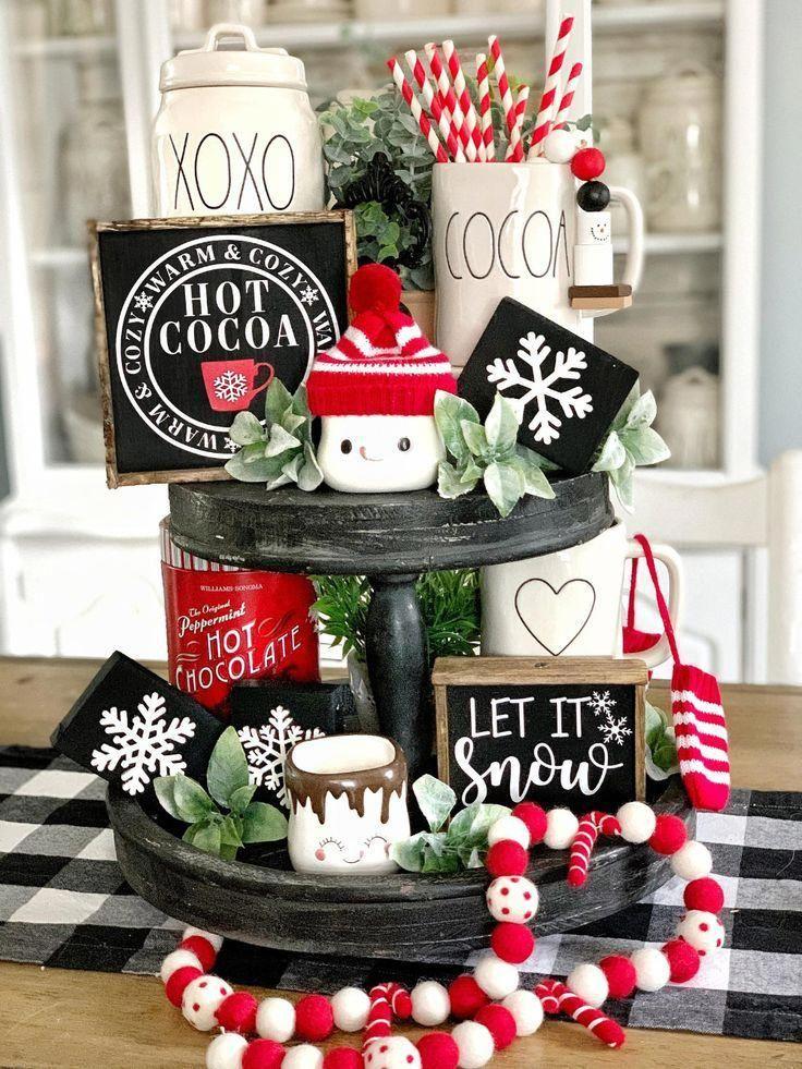Hot cocoa sign / hot cocoa bar / cocoa sign / coffee bar / tiered tray decor / rae Dunn decor / hot chocolate bar/ kitchen signs / Christmas #farmhousechristmasdecor