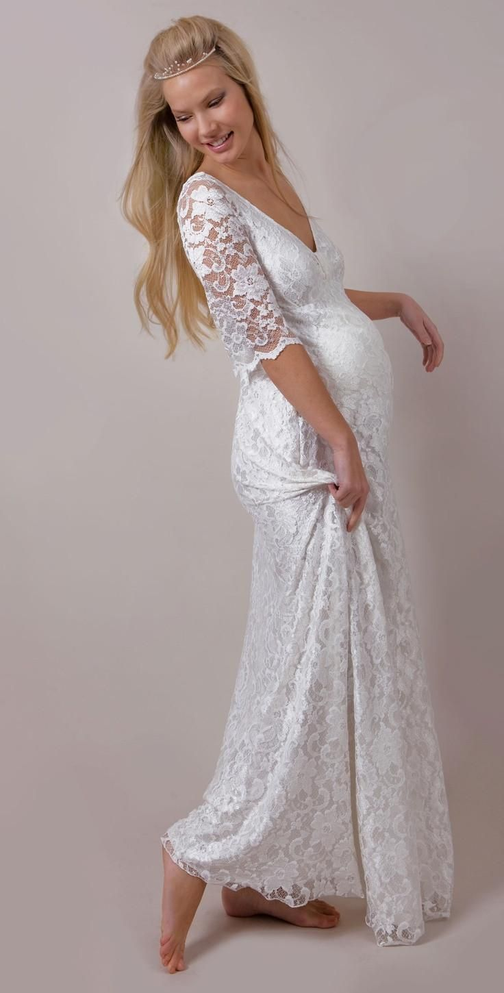 White lace maternity wedding dress with sleeves vneck floor length