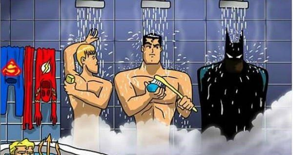#SundayFunnies  #Batman #Superman #Flash #Aquaman #DownInTheCorner #shower