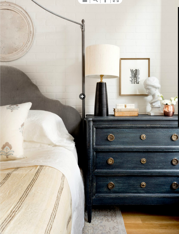 Love the blue dresser | Dresser as nightstand, Cozy ...