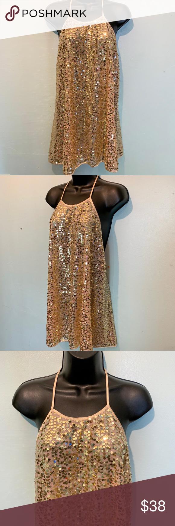 New Victoria S Secret Gold Sequin Dress Sequin Cocktail Dress Victoria Secret Dress Large Size Dresses [ 1740 x 580 Pixel ]
