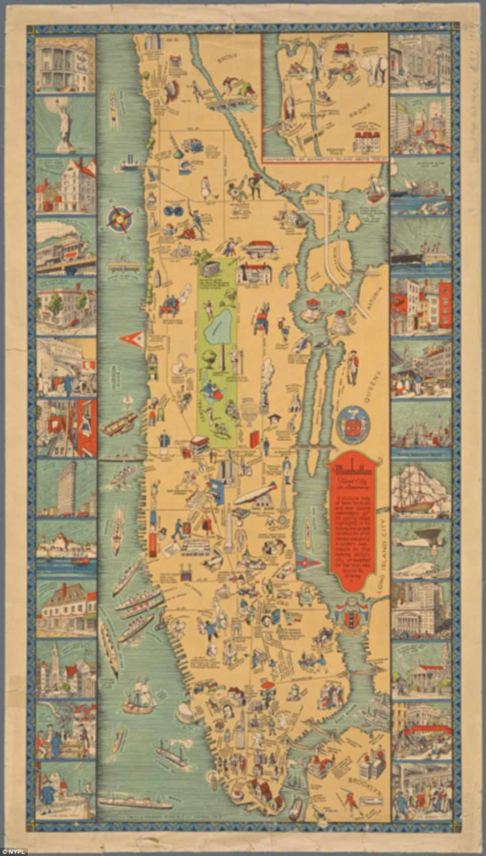 Pictorial Map of Manhattan 26 Vignettes Wall Poster Vintage Home School Office