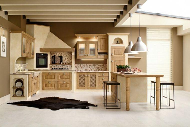 mobili in stile country moderno, idee per cucine in muratura beige ...