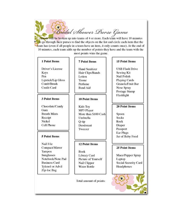 Purse Game Bridal Shower Game (Whimsical Botanical)