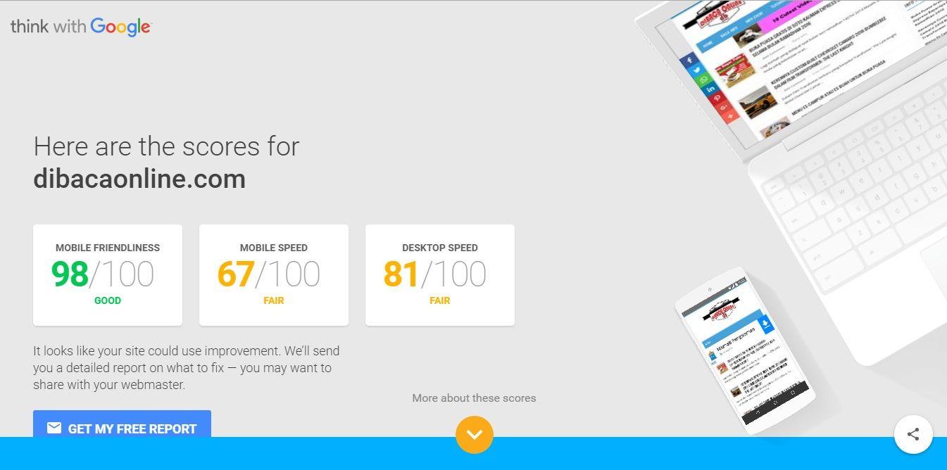 Dibacaonline Cara Baru Untuk Mengetahui Score Kecepatan Website Di Hp Smartphone Dan Pc Komputer Website Pengetahuan Smartphone
