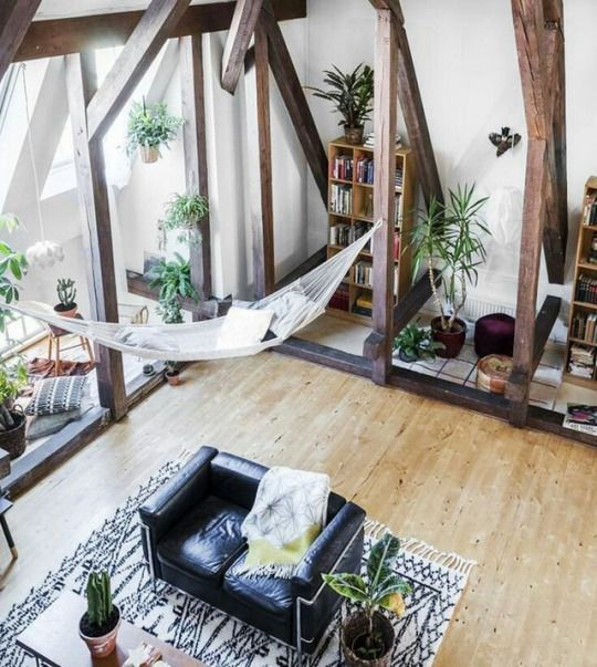 Boho Interior Decor Indoor Hammock Plants And High Ceilings With Wooden  Beams