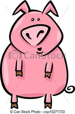 Vector  caricatura Ilustracin granja cerdo  stock de
