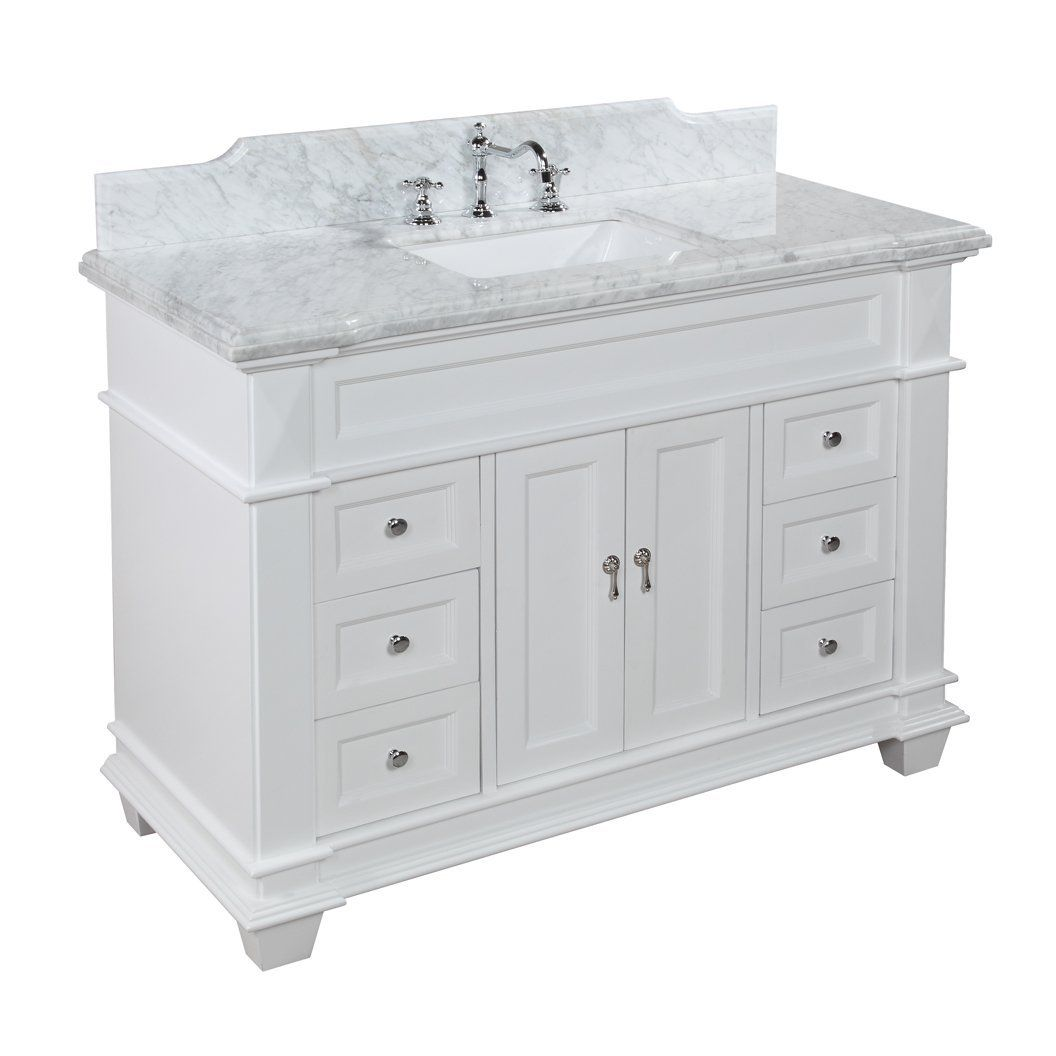 THE ONE: Elizabeth 48 Inch Solid Wood Bathroom Vanity (Carrera/White)