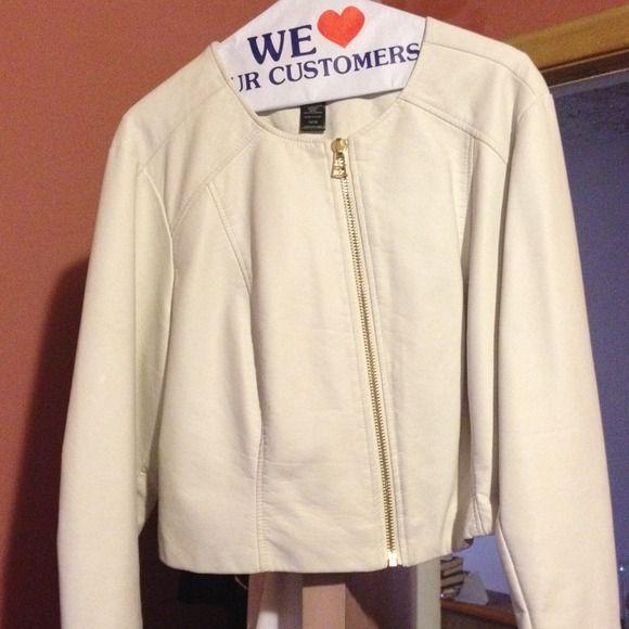 White cropped jacket with gold zippers White polyurethane jacket with matching zipper on sleeve size 14/16 cropped waist Ashley stewart Jackets & Coats