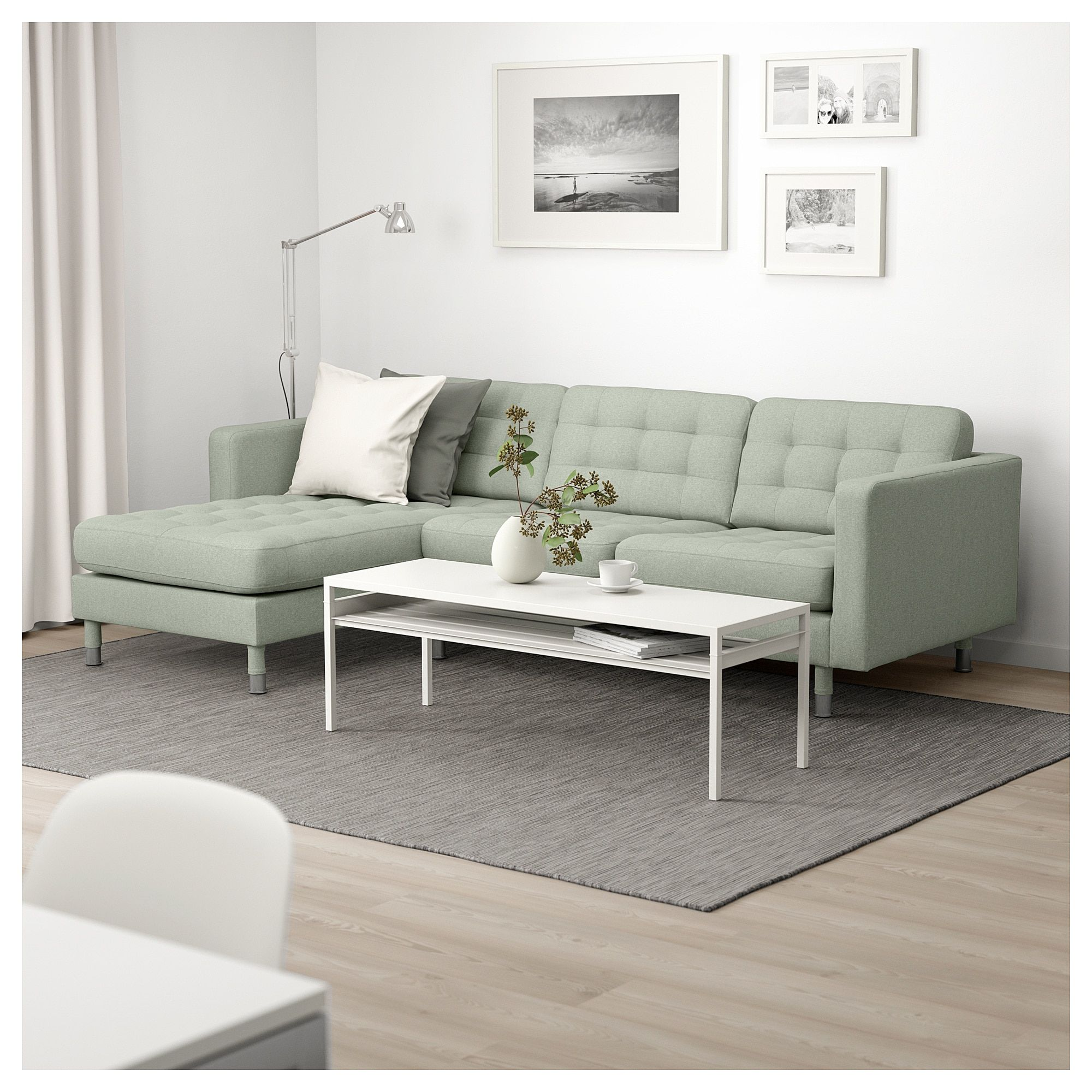 Landskrona Sofa With Chaise Gunnared Light Green Metal