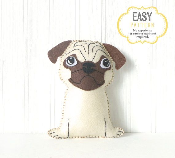 Pug Sewing Pattern, Dog Hand Sewing Pattern, Felt Pug Sewing Pattern ...