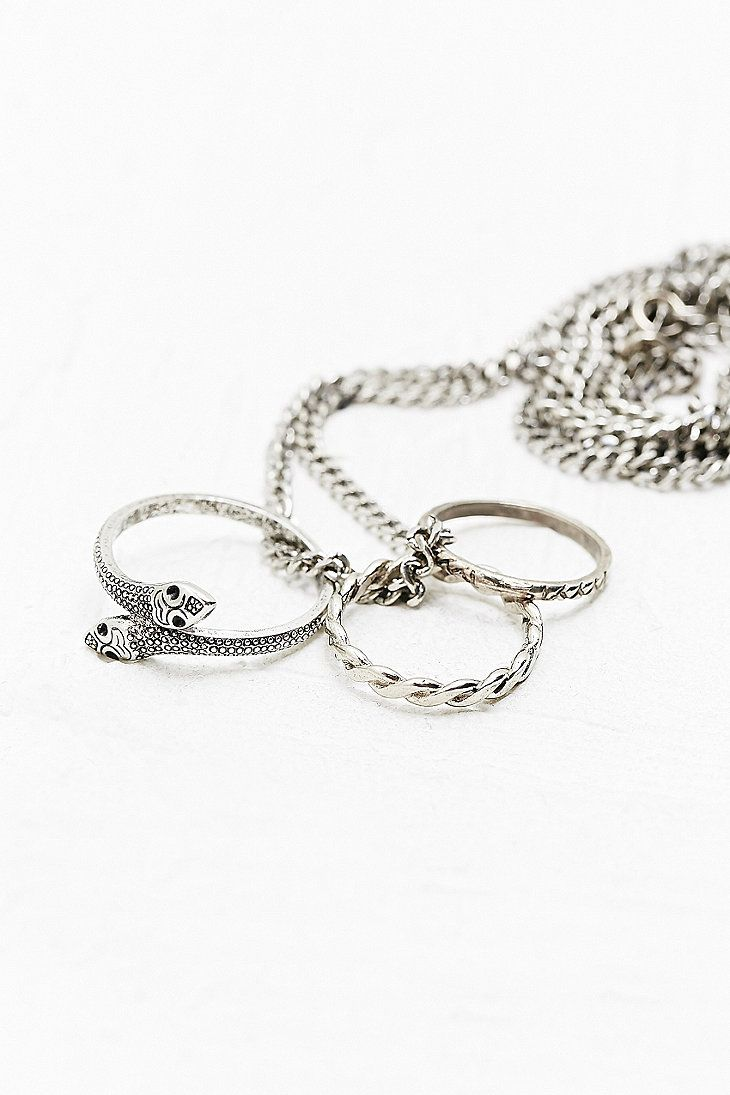 Three Ring Snake Necklace in Silver