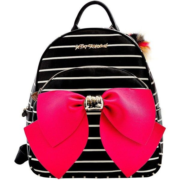Betsey Johnson Striped Bow Backpack ( 128) ❤ liked on Polyvore featuring  bags b17619e7b3840