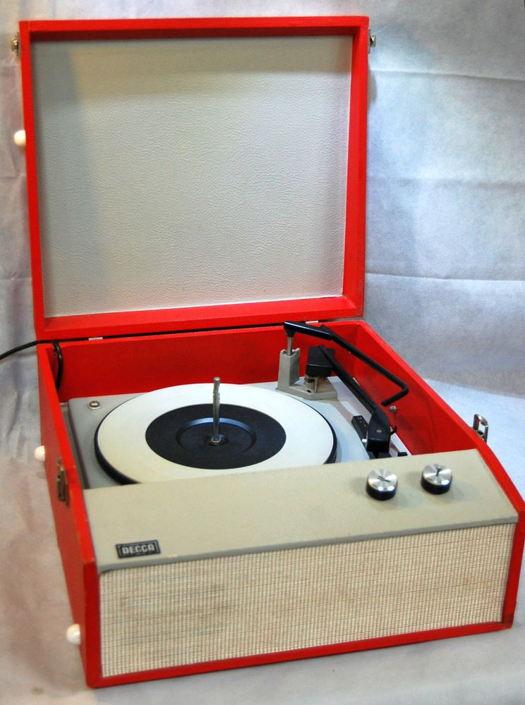 Restored 1960s Vintage Red Cream Portable Record Player