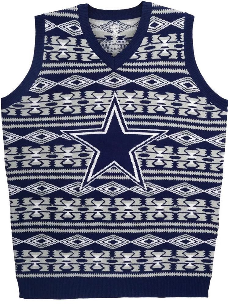 Dallas Cowboys Nfl Knit Vest Holiday Sweater Aztec Pattern Klew New
