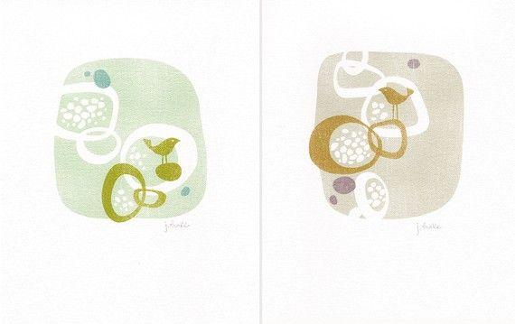 Bird Pod, print by TreeTop Studios on Etsy