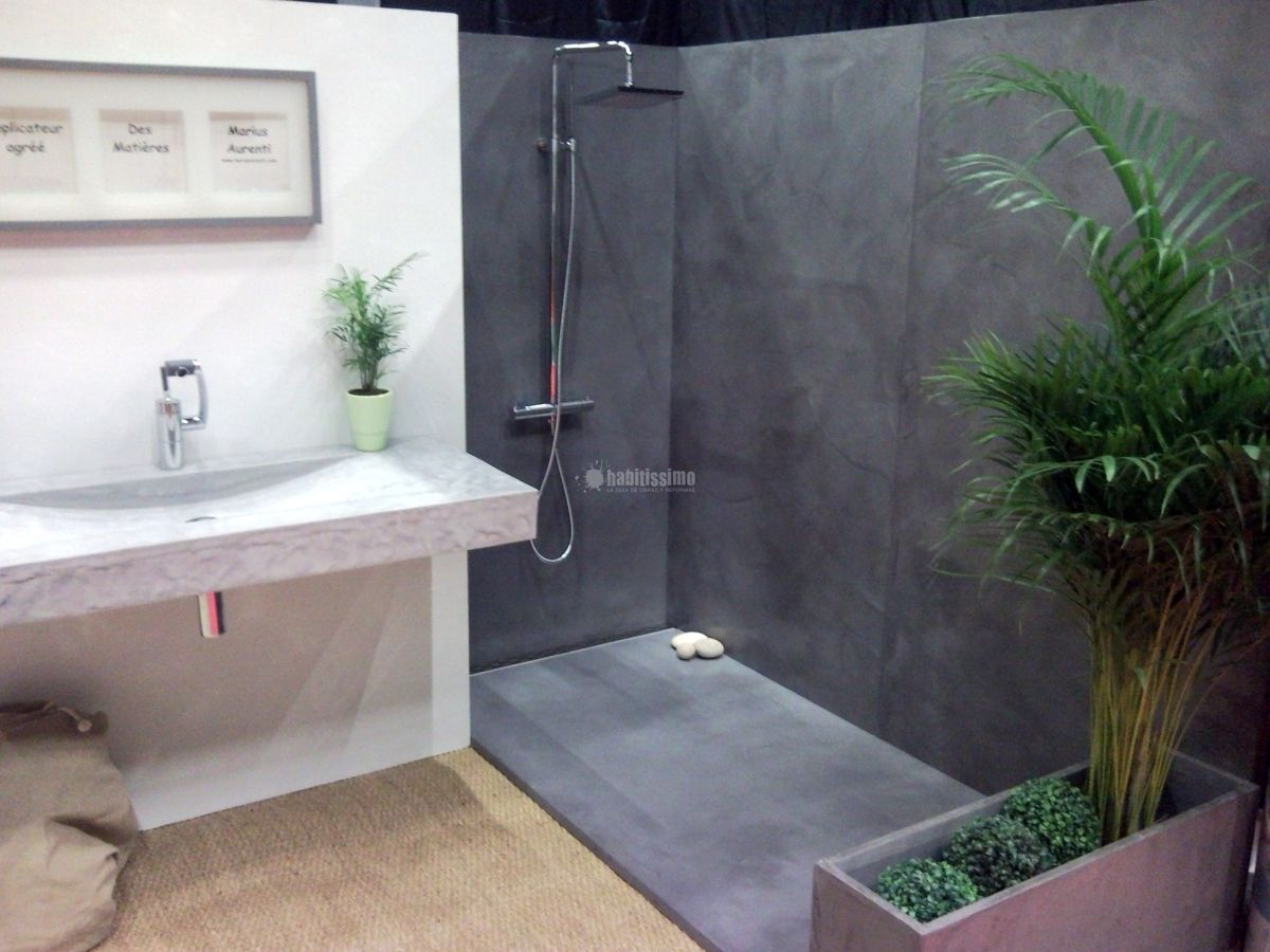 Ideas para decorar tu hogar en habitissimo ba os ba o for Pared de bano de concreto encerado
