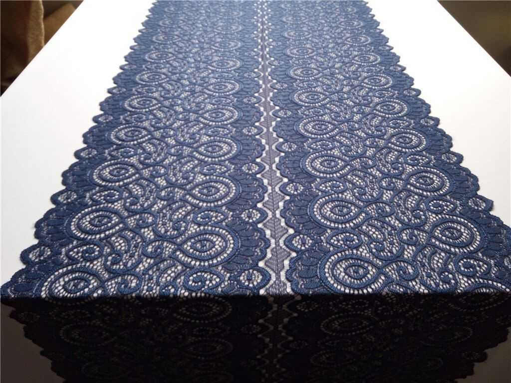 "Navy lace table runner,  14"",  wedding table runner , lace table runner,  wedding runners lace table runner  R16040401 by WeddingTableRunners on Etsy https://www.etsy.com/listing/288468249/navy-lace-table-runner-14-wedding-table"