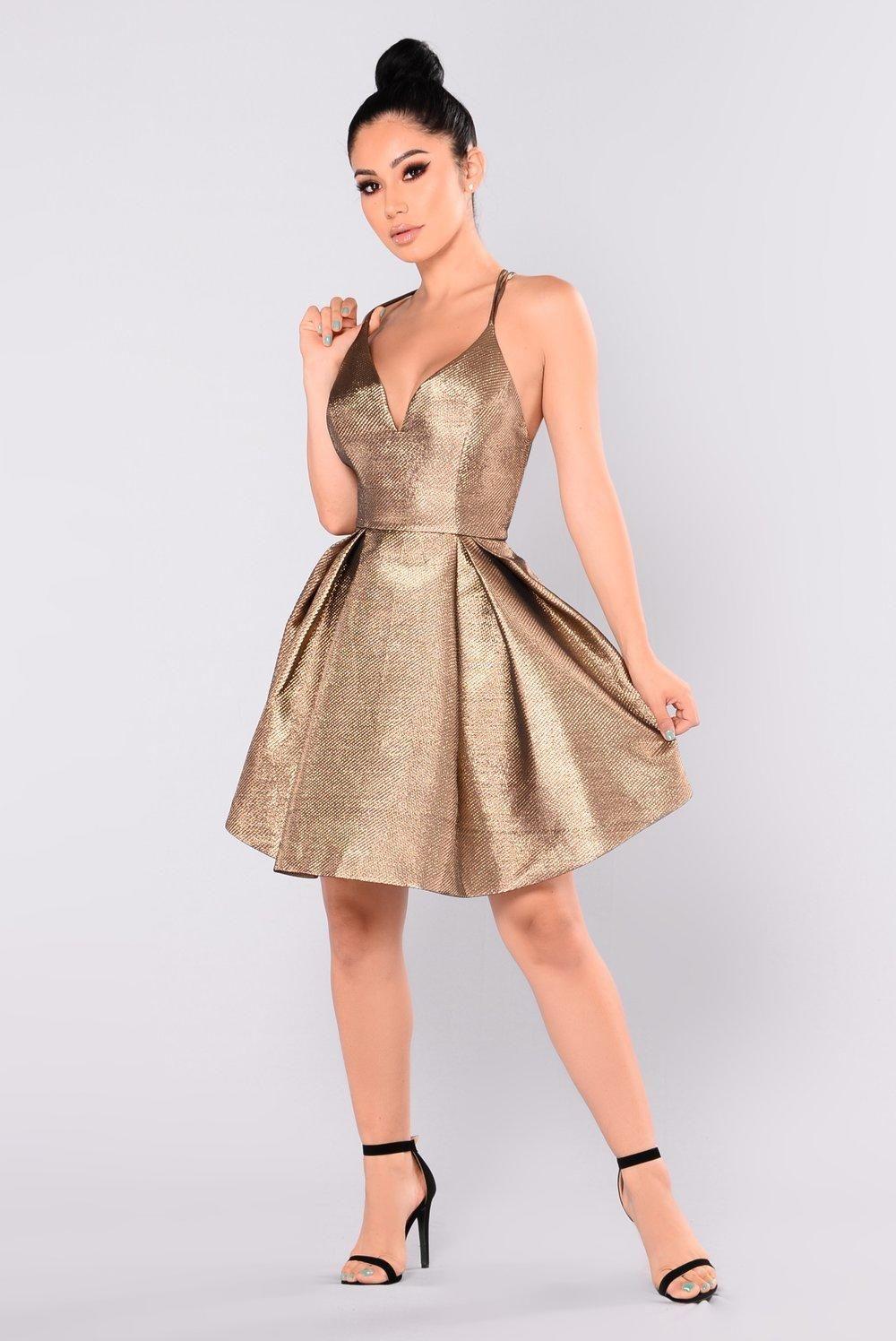 e6d475e54bd Steal The Show Metallic Dress - Bronze