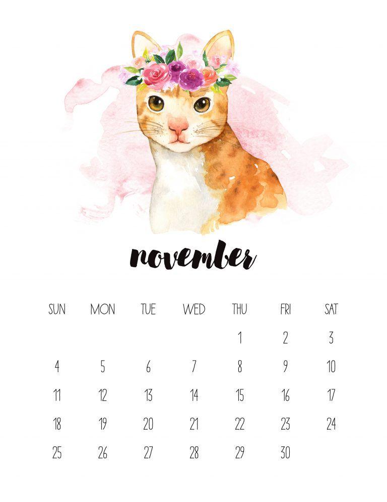 Free Printable 2018 Watercolor Animal Calendar   Calendario 2018 ...