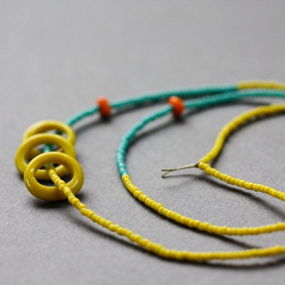 OOAK  Modern Tribal Necklace  Yellow and by ViaMinimalist on Etsy, $26.00