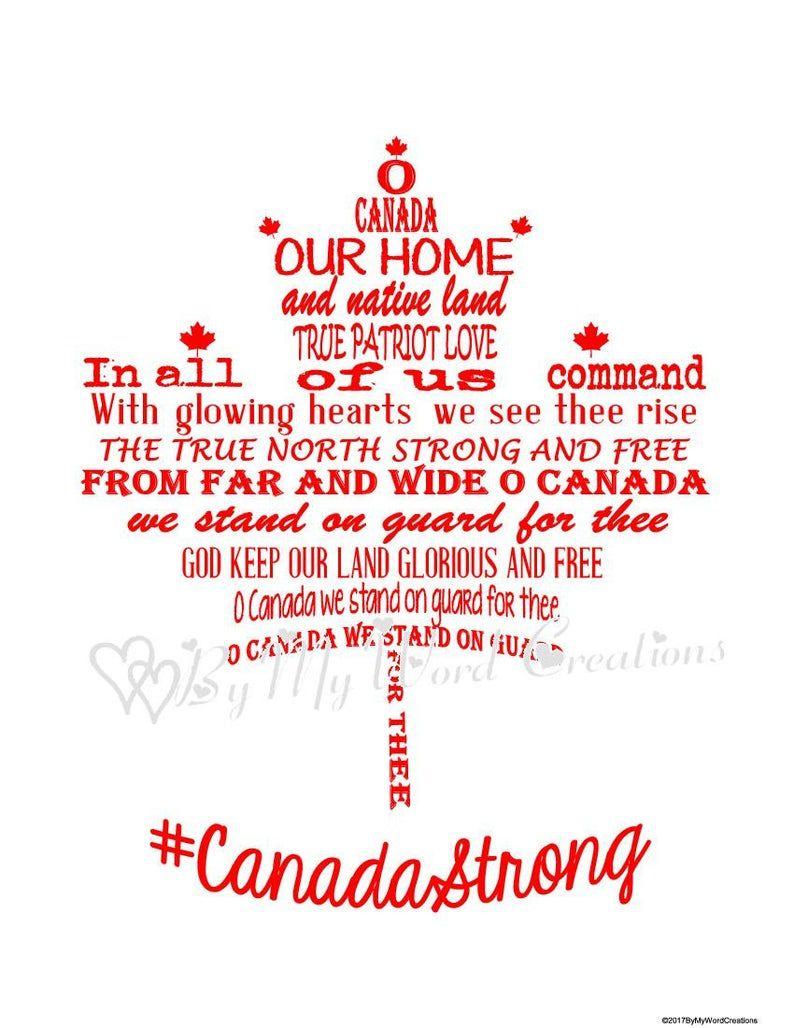 Canada Maple Leaf Word Art Canadian National Anthem Word Art Maple Leaf Digital Wall Art Veteran Gift Canada Gift Instant Download In 2020 Digital Word Art Canada Day Crafts Canadian National Anthem