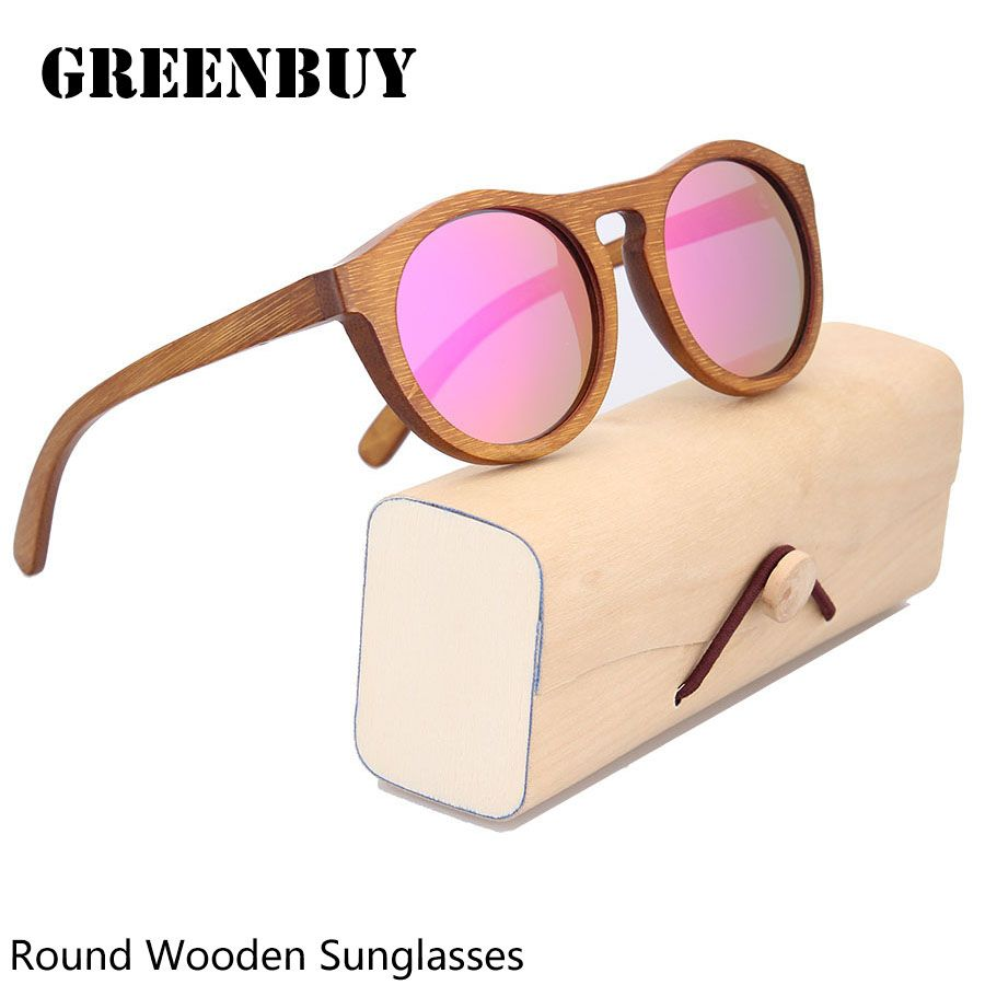 357db742e8 GREENBUY Pink Sunglasses Women Bamboo Reflective Mirrored Sunglass Woman  Fashion Brand Sun Glasses Girls Vintage Glasses