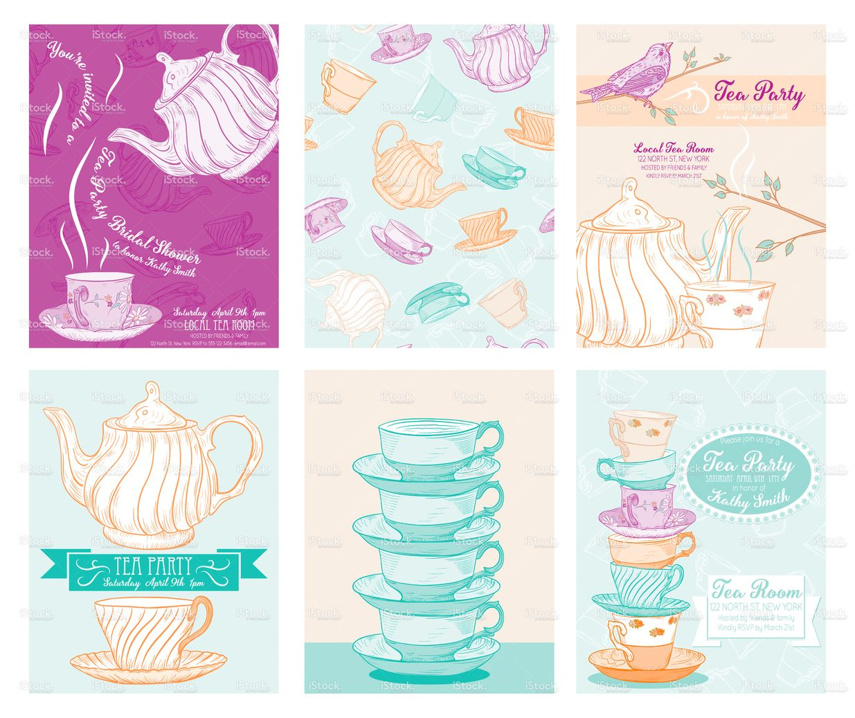 Tea Party Invitation Templates There Are Stacked Teacups With