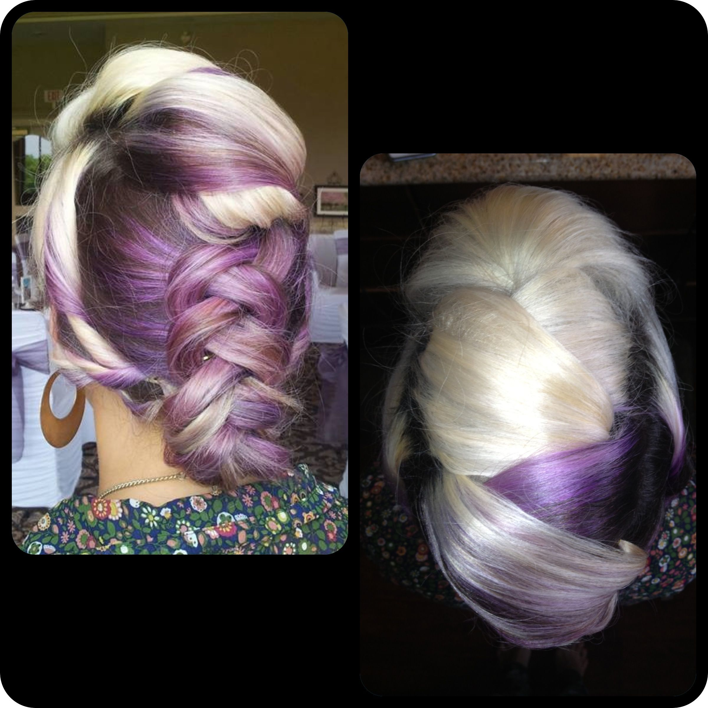 Faux hawk Updo, formal do, prom hair, inverted braid.  Purple and blonde hair.